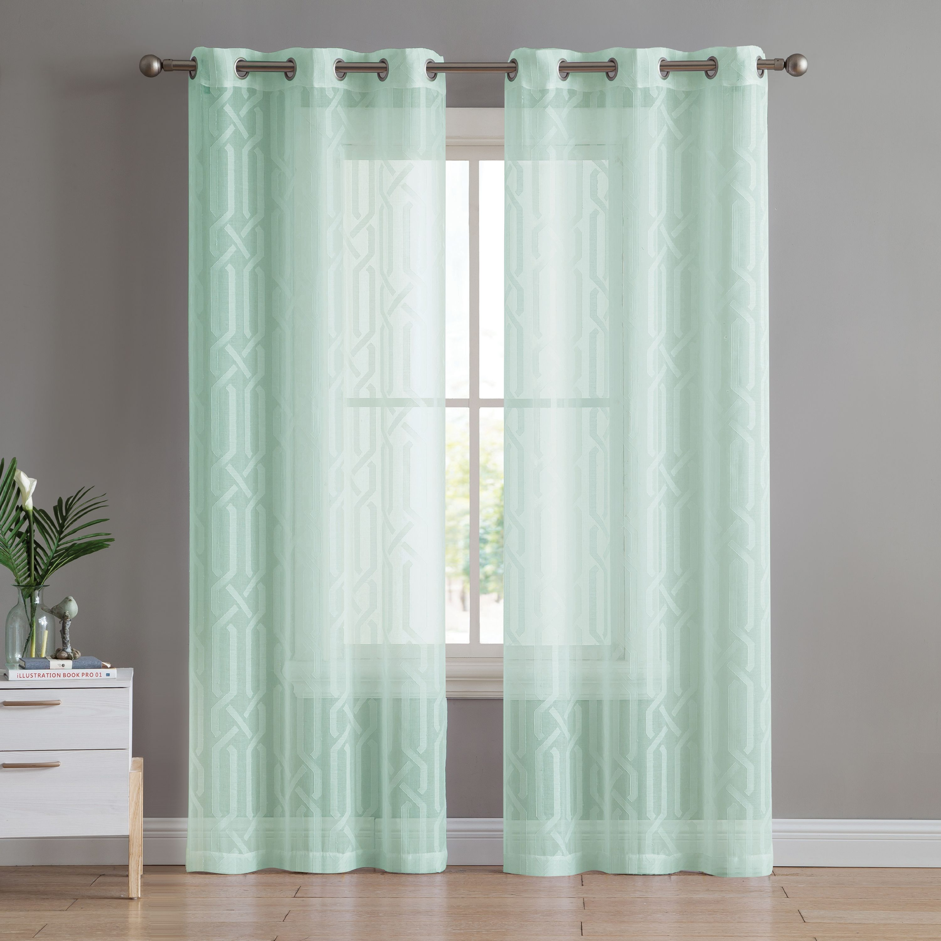 Vcny Home Irongate Trellis Sheer Grommet Curtain Panel 54