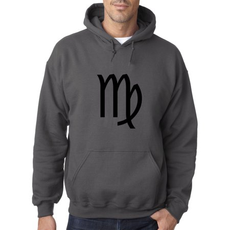 Trendy USA 953 - Adult Hoodie Virgo Symbol Zodiac Sign The Maiden Sweatshirt Small Charcoal