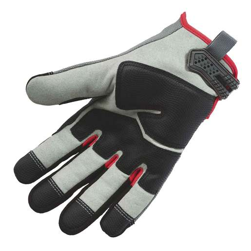 Ergodyne Large Black, Gray And Red ProFlex Heavy Duty Polyester And Neoprene Cut Resistant Gloves With Hook and Loop Cuff, Polyester Liner And Black Armortex Coating On Palm
