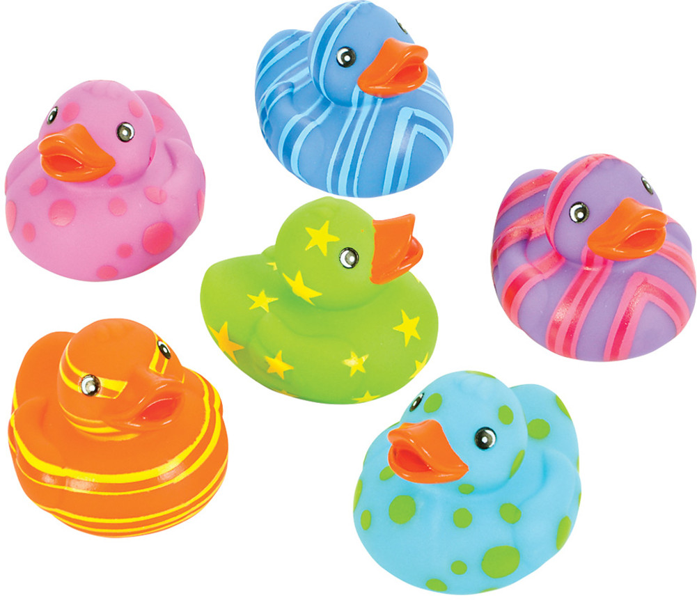 Toy Multi Colored Patterned Rubber Ducks Bath Set Of 12