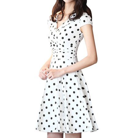 Unique Bargains Women's Cross V Neck Polka Dots A Line Dress White (Size L / 12)