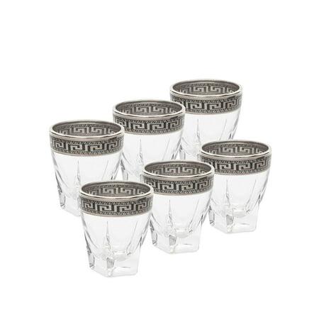 Italian Collection Crystal 2.5 Oz Liquor Shot Vodka Glasses, Silver (Collection Vodka)