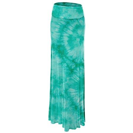 Fold Over Mini Skirt (MBJ WB1058 Womens Tie Dye Fold Over Maxi Skirt M)