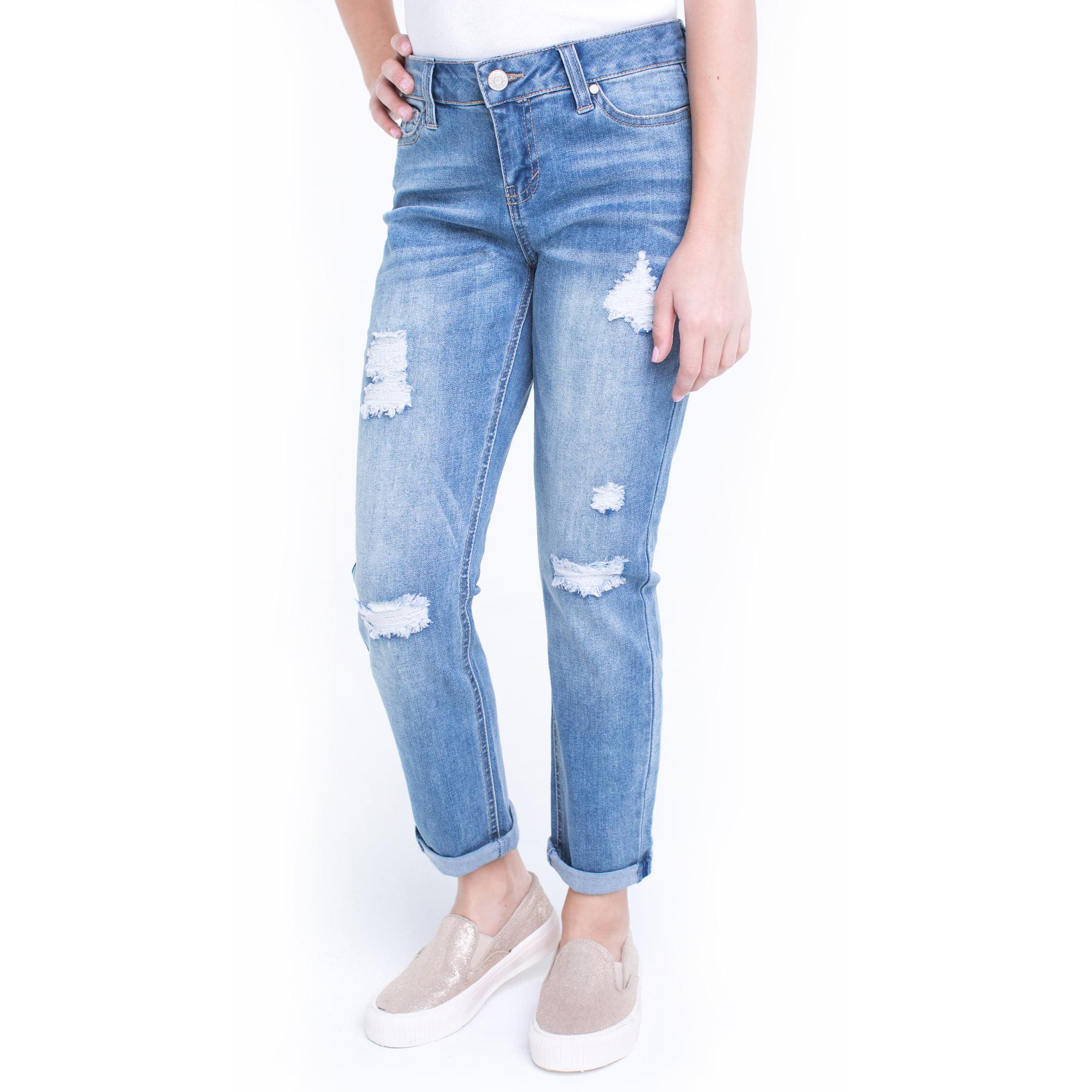 Planet Pink Girls' Destructed Girlfriend Jeans