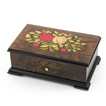 Handcrafted Swiss 36 Note Red and White Rose Inlay Grand Music Box - Gavotte, Louis XIII & Minuet