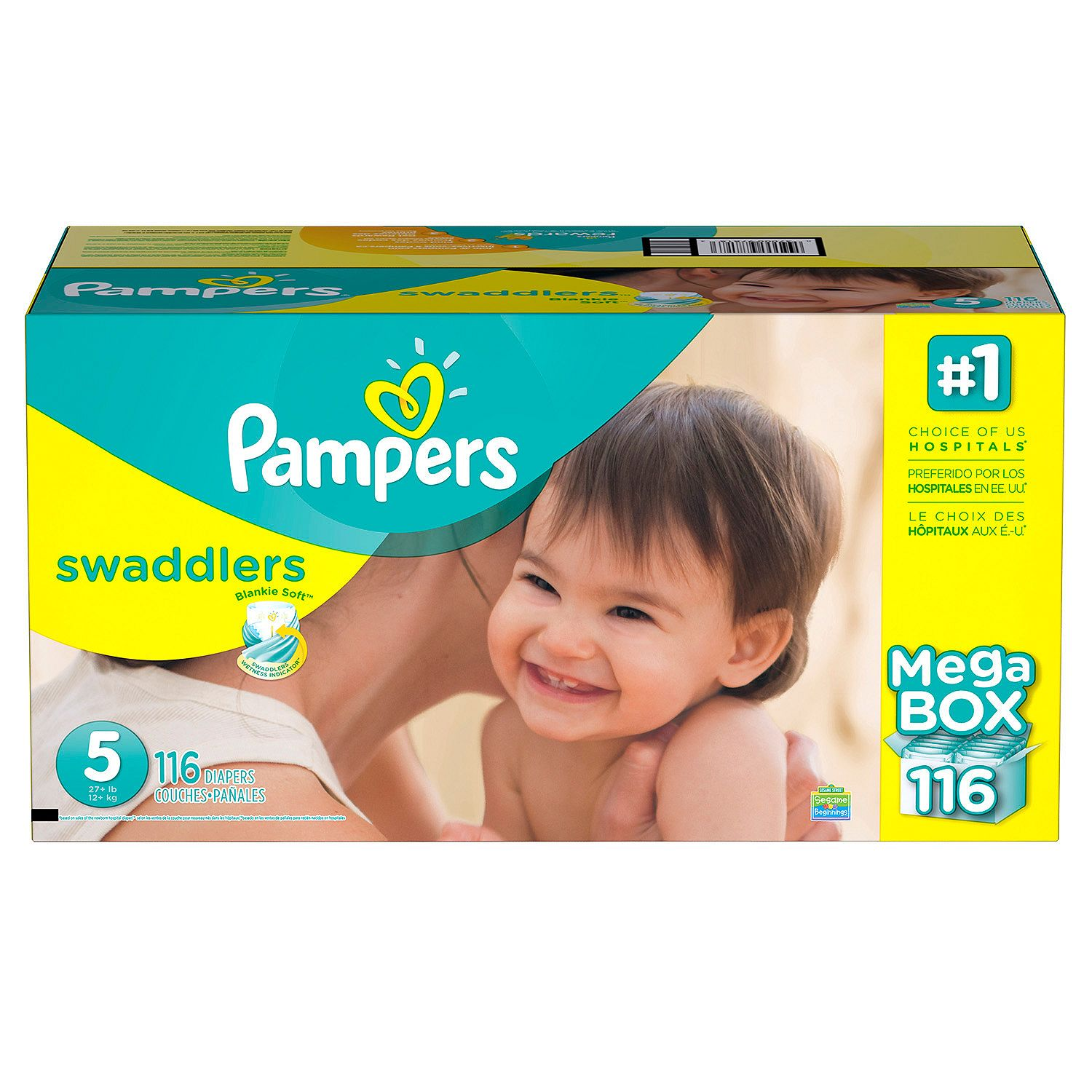 Pampers' Swaddlers Diapers Size 5 116 ct. ( Weight 27+ lb.) Bulk Qty, Free Shipping Comfortable, Soft, No... by Branded Diapers