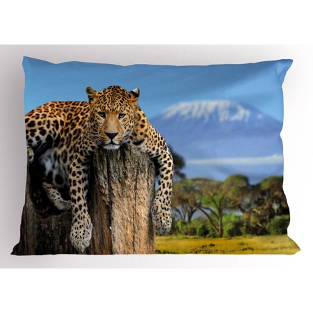 Africa Pillow Sham Leopard Sitting on a Tree Trunk with Mountain Range Journey Up Kilimanjaro Scenery, Decorative Standard Size Printed Pillowcase, 26 X 20 Inches, Tan Blue, by