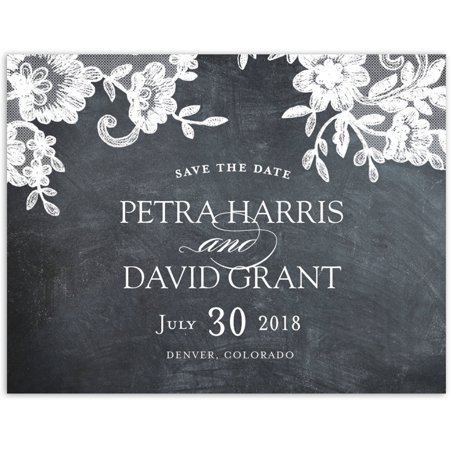 Rustic Lace Wedding Save the Date Postcard ()