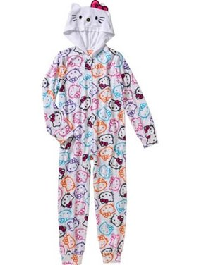 Hello Kitty Little Girls Onesie Footed Pajama, White, Size: 4T