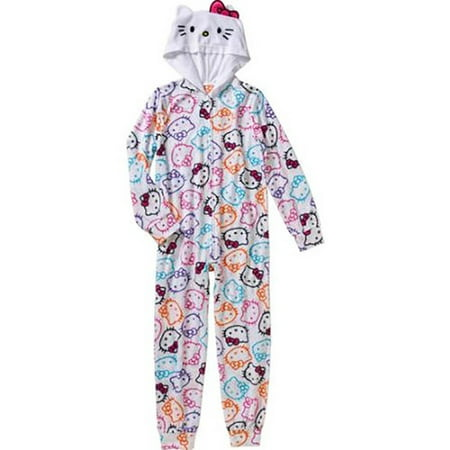 Hello Kitty Little Girls Onesie Footed Pajama, White, Size: 4T - Nerdy Hello Kitty