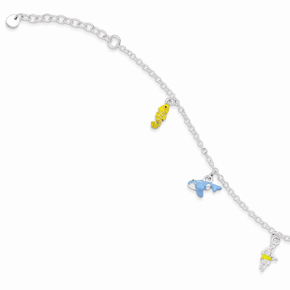 .925 Sterling Silver Children's Enameled Seahorse/Shank/hula With 1.5 Inch Extension Bracelet 5.50 Inches