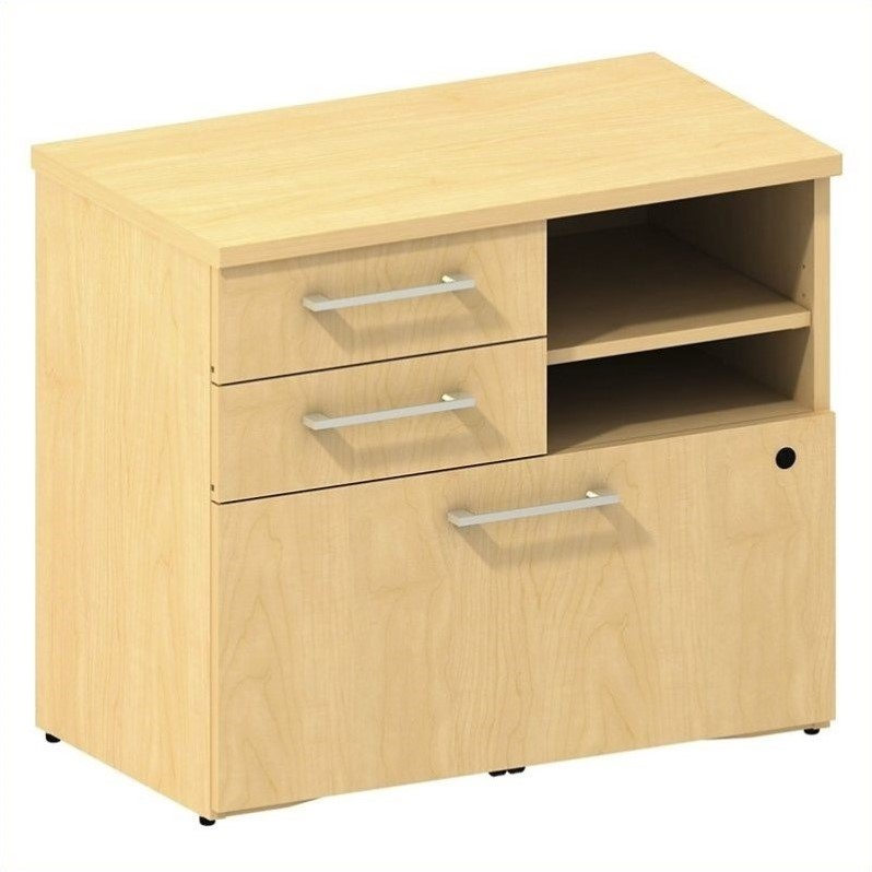 Bush Business 300 Series Lower Piler and File Cabinet in Natural Maple