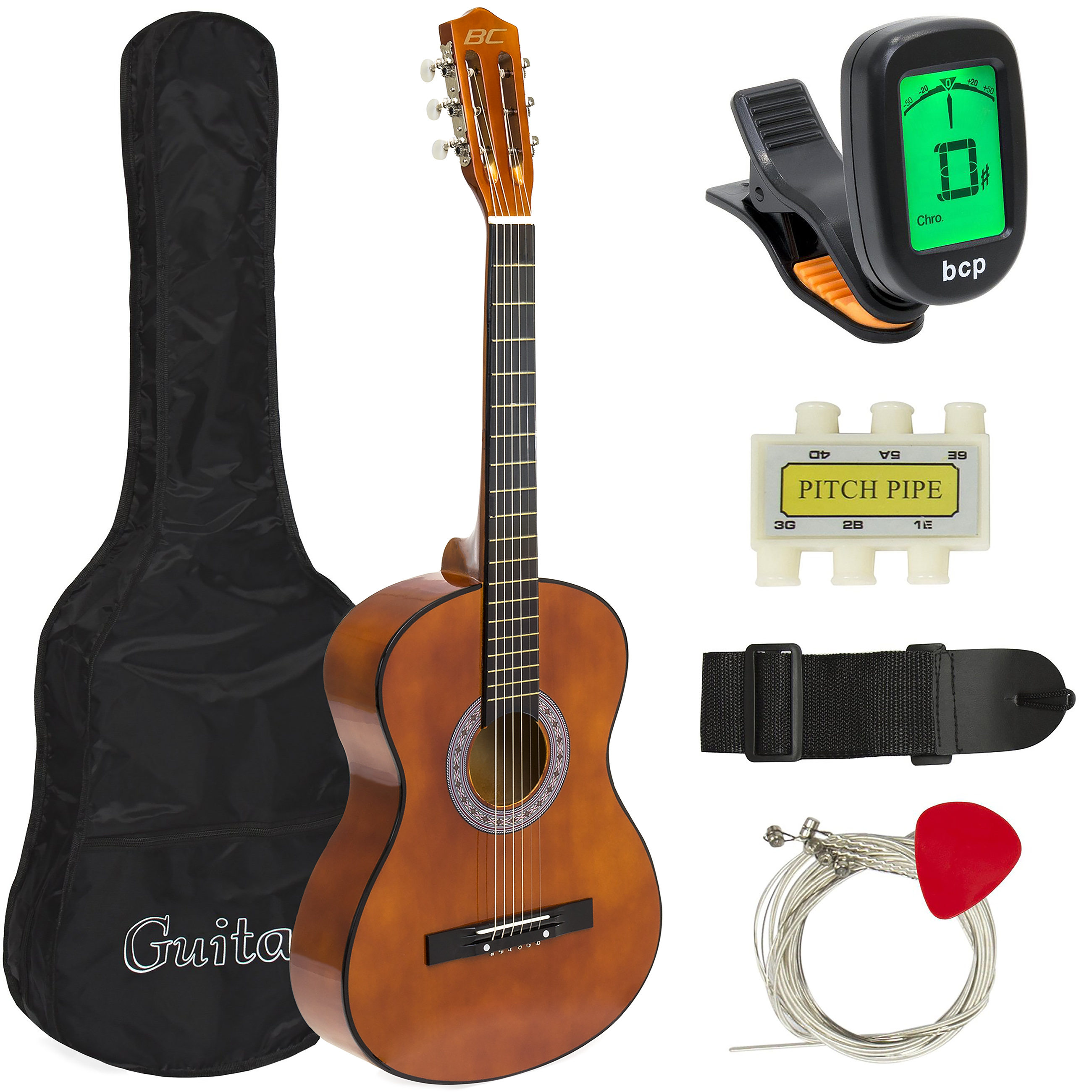 Best Choice Products 38in Beginner Acoustic Guitar Bundle Kit w/ Case, Strap, Digital E-Tuner, Pick, Pitch Pipe, Strings - Brown