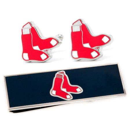MLB Mens Boston Red Sox Cufflinks & Money Clip Gift Set w Gift Box PD-SOX-CM NEW