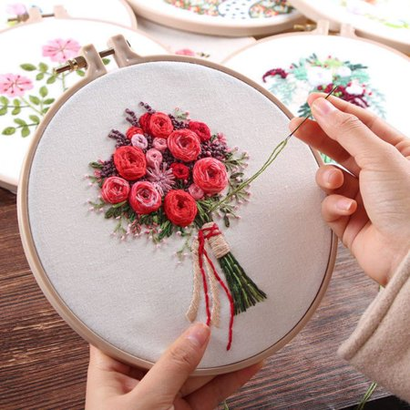 (SWEETLIFE 1pcs Self Embroidery DIY Knitted Rose Flower Handkerchief With Tools Kit Gift)