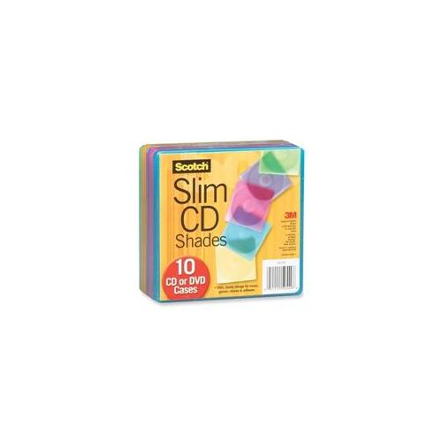 3M Slim CD Shades, for CDs-DVDs, 10-PK, Assorted Colors