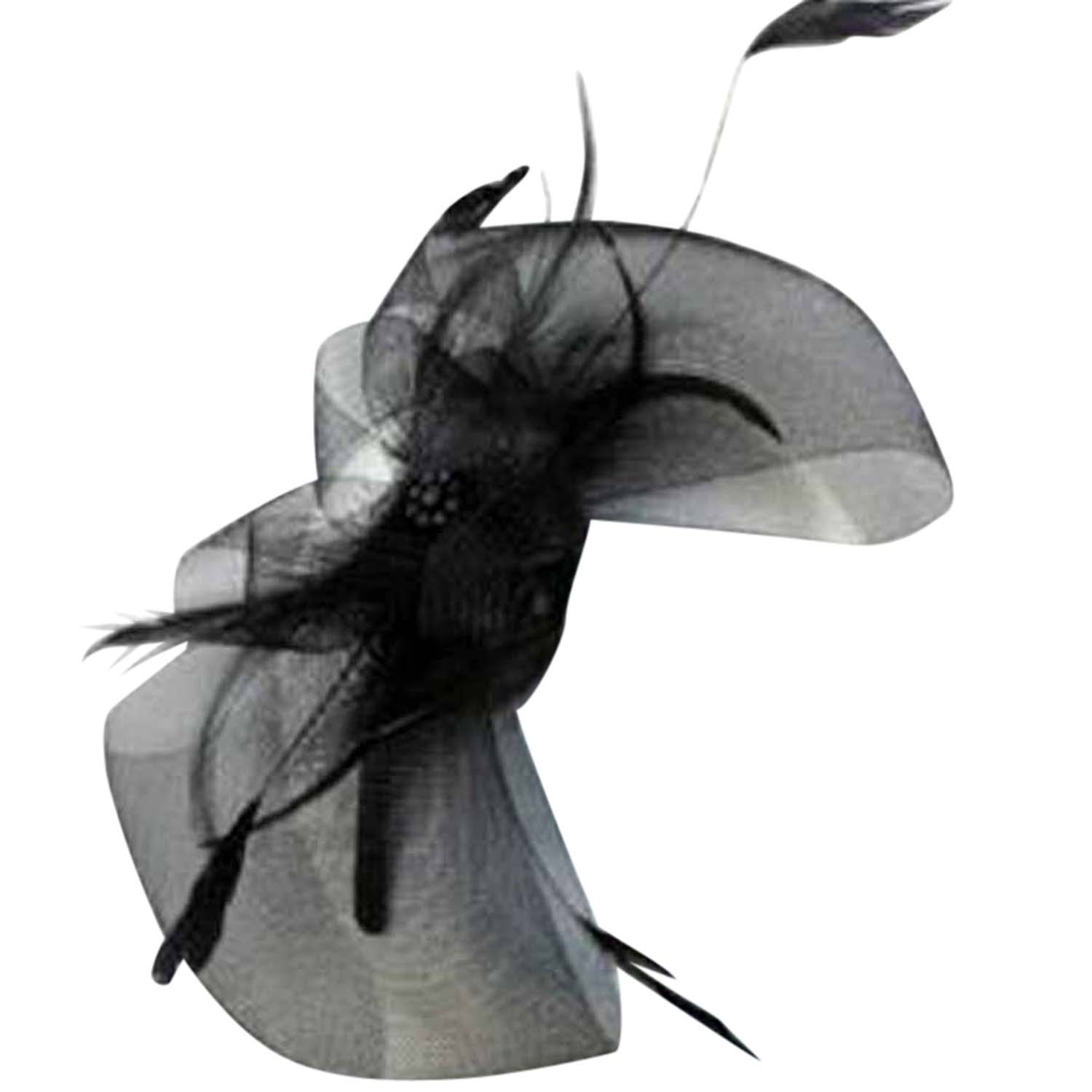 Luxury Divas Black Bow Fascinator Headband With Wispy Feathers