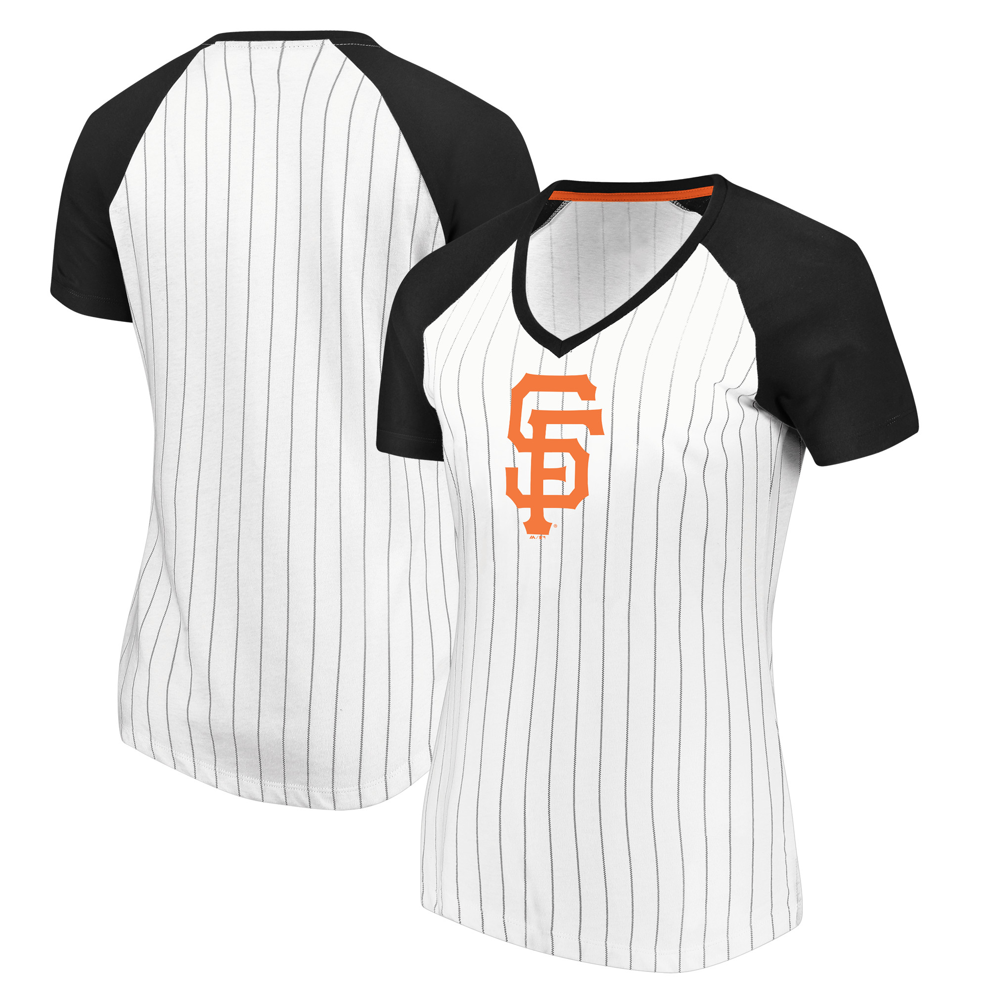San Francisco Giants Majestic Women's Every Aspect Pinstripe Raglan V-Neck T-Shirt - White