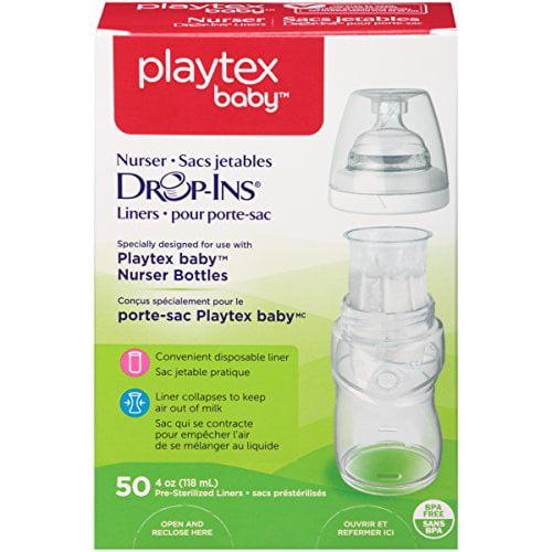 4 Pack - Playtex Drop in Liners for Nurser Bottles 4 oz 50 Count Each