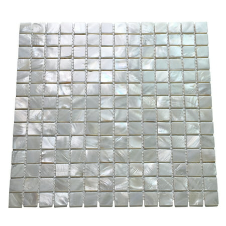 "Art3d White Mother of Pearl (MOP) Shell Mosaic Tile for Kitchen Backsplashes, Bathroom Walls, Spa Tile, Pool Tile, 12"" x 12""(1 Piece)"