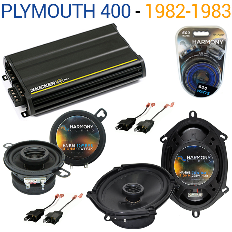 Plymouth 400 1982-1983 Factory Speaker Upgrade Harmony R35 R68 & CX300.4 Amp - Factory Certified Refurbished