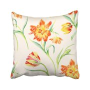 ARTJIA Colorful Summertime Garden Flowers Tulips Watercolor Beautiful Romantic For Pages Pink Pillowcase Cover 18x18 inch