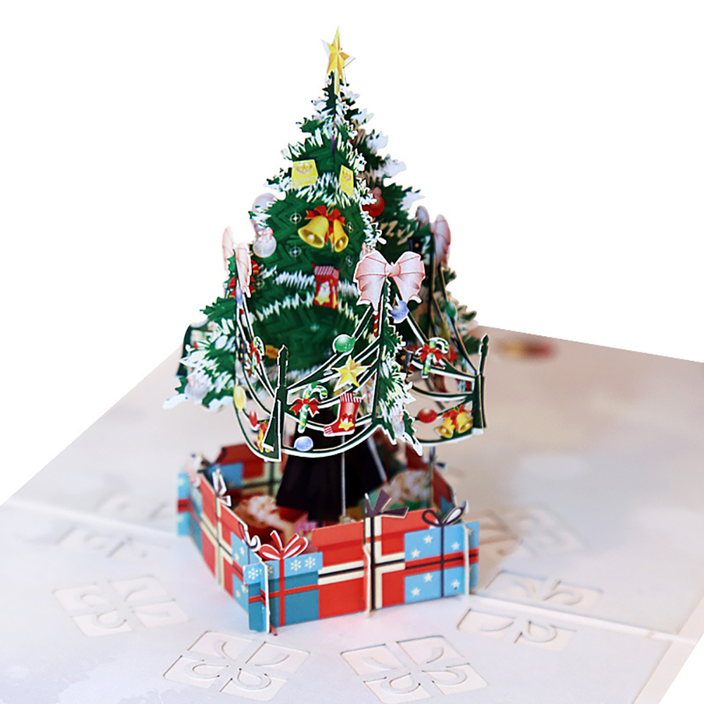 Directer Christmas Tree Gift Box 3D Pop Up Greeting Cards Handmade Holiday Festival Gift