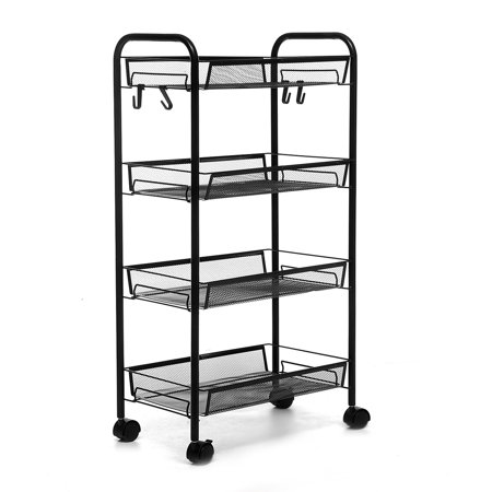 AUGIENB 4/5-Tier Metal Wire Rolling Cart Kitchen Rolling Storage Cart with Baskets, Lockable Utility Trolley with Handles for Kitchen Bathroom Office Movable Storage Shelves ()