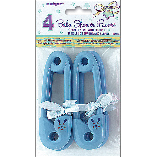 Plastic Safety Pin with Ribbon Baby Shower Favors, 4.5 in, Blue, 4ct