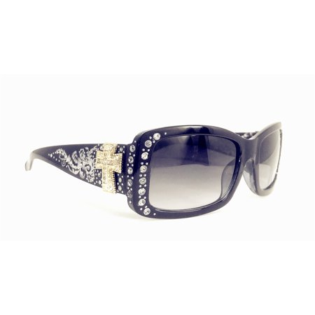 Texas West Womens Sunglass with Antiqued Ornate Cross And Rhinestones UV400