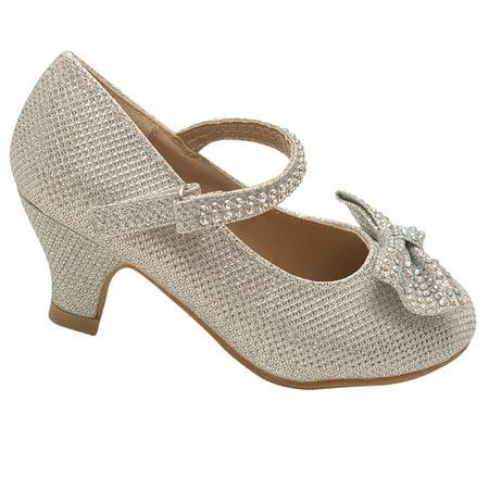 79f6e0aedf6c Link - Little Girls Silver Sparkle Rhinestone Bow Kitten Heel Pumps 9-10  Toddler - Walmart.com