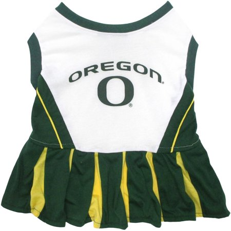 Pets First College Oregon Ducks Cheerleader, 3 Sizes Pet Dress Available. Licensed Dog Outfit - Oregon Ducks Stickers