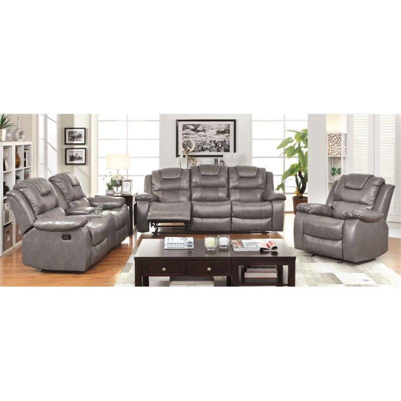 Furniture of America Crossman 3 Piece Reclining Sofa Set in Gray