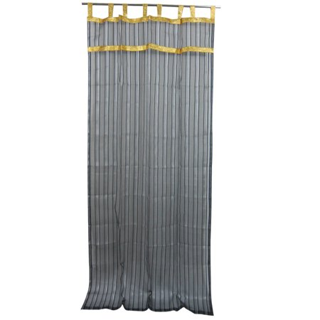 Mogul 2 Organza Sheer Curtains Black Silver Striped With Golden Border Window Panel Drapes 48  X84