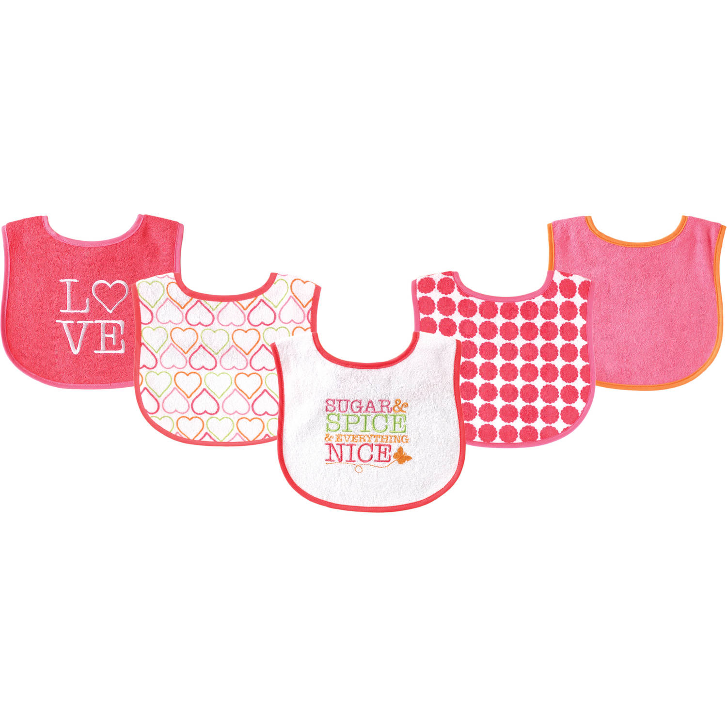 Luvable Friends Applique/Print Bib, Girl, 5pk, Sugar