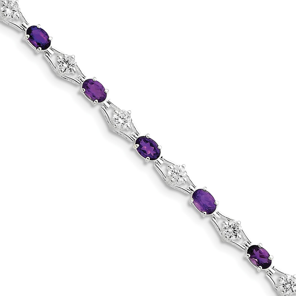 "Sterling Silver Simulated Amethyst & Cubic Zirconia Cubic Zirconia Bracelet 7"" (5mm) by AA Jewels"