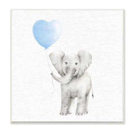 The Kids Room by Stupell Baby Elephant Blue Balloon Linen Look Wall Plaque (Elephant Plaque)