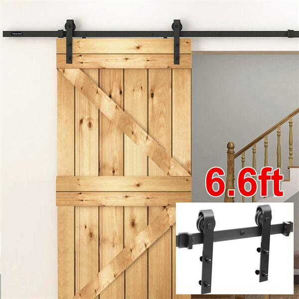 Yaheetech 6.6 Ft Antique Single Black Steel Sliding Barn Wood Door Hardware Kit Track System Set