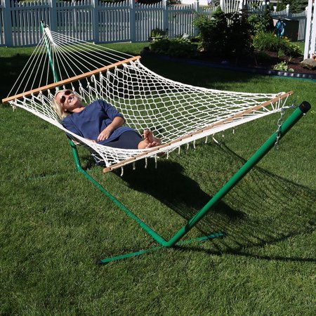 Cotton Rope Double Hammock With Stand And Wood Spreader Bar 2 Person 350 Lb