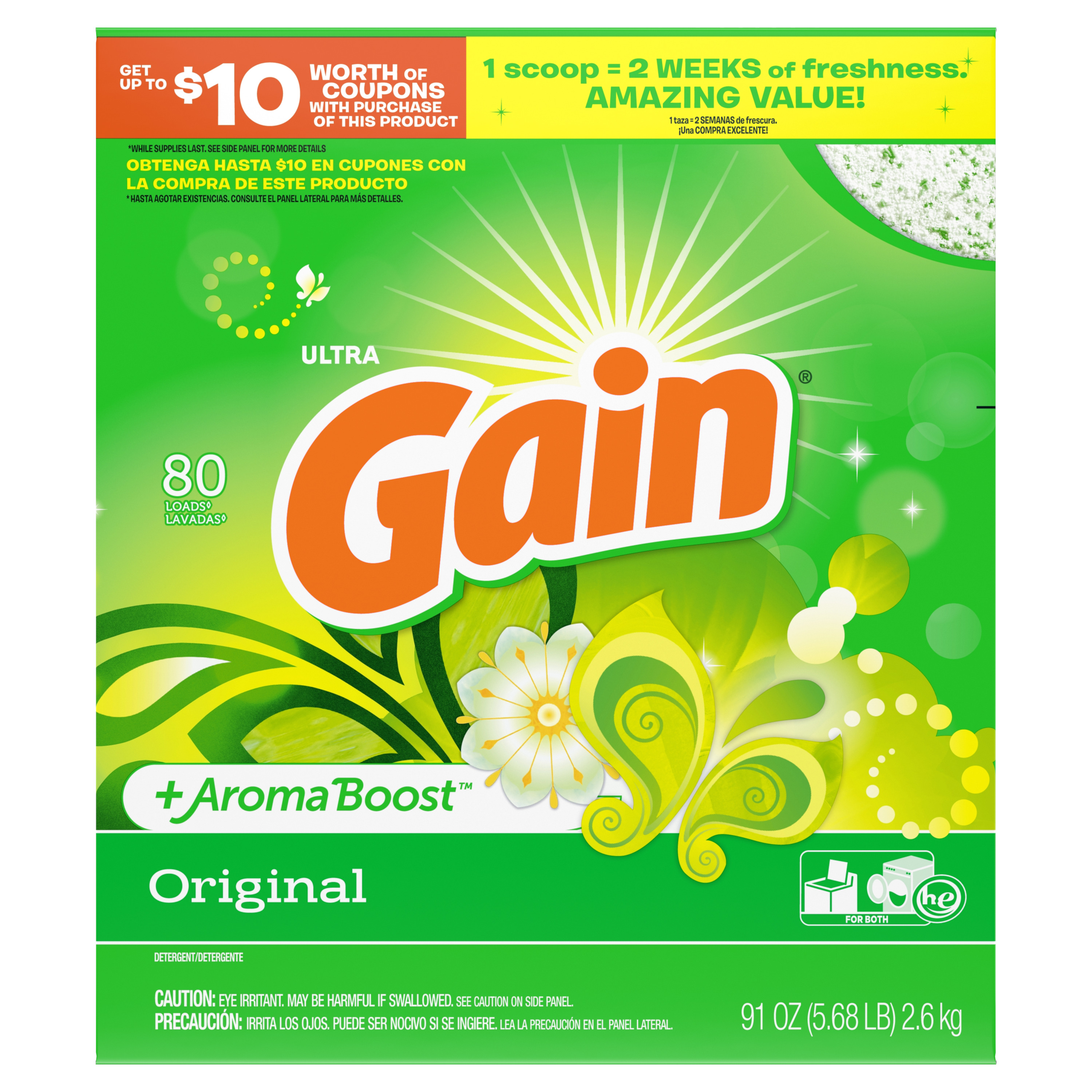 Gain Powder Laundry Detergent for Regular and HE Washers, Original Scent, 91 ounces 80 loads