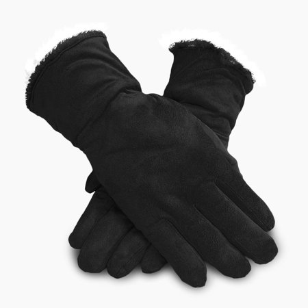 Hybrid Fleece Glove - Polar Extreme Women's Faux Suede Cold Weather Gloves with Fleece Warm Soft Lining w/ Gathered Wrist (Black)