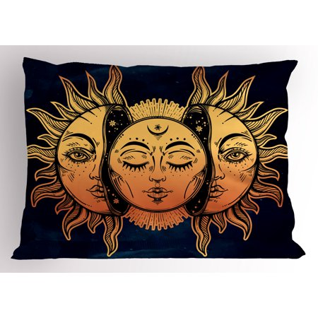 Psychedelic Pillow Sham Moon and Sun with Many Fractal Faces Celestial Energy Mystic Art Print, Decorative Standard King Size Printed Pillowcase, 36 X 20 Inches, Golden Dark Blue, by Ambesonne ()