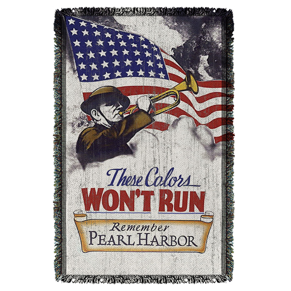 Army Won'T Run Woven Throw White 48X80