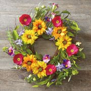 Sunflower Field Wreath - 20 Inches Across, Grapevine Base, Sunflowers and Wildflowers Spring Wreath