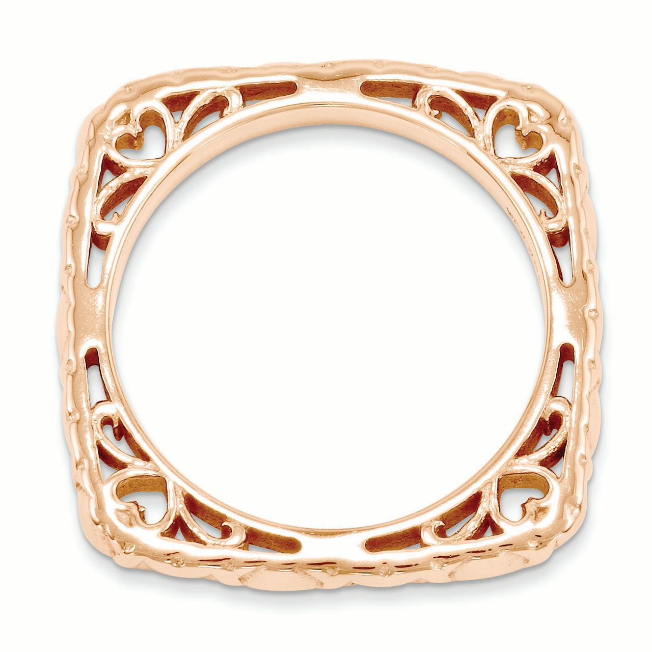 Sterling Silver Stackable Expressions Polished Pink-plate Square Ring Size 6 - image 2 de 3