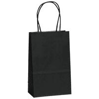 "Flexicore Packaging® 5.25""x3.25""x8"" - 100 pcs - Black Kraft Paper Bags, Shopping, Mechandise, Party, Gift Bags"
