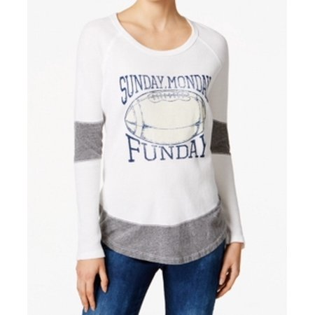 THE ORIGINAL RETRO BRAND Womens Gray Color Block Funday Long Sleeve Scoop Neck Weekend Top  Size: XL