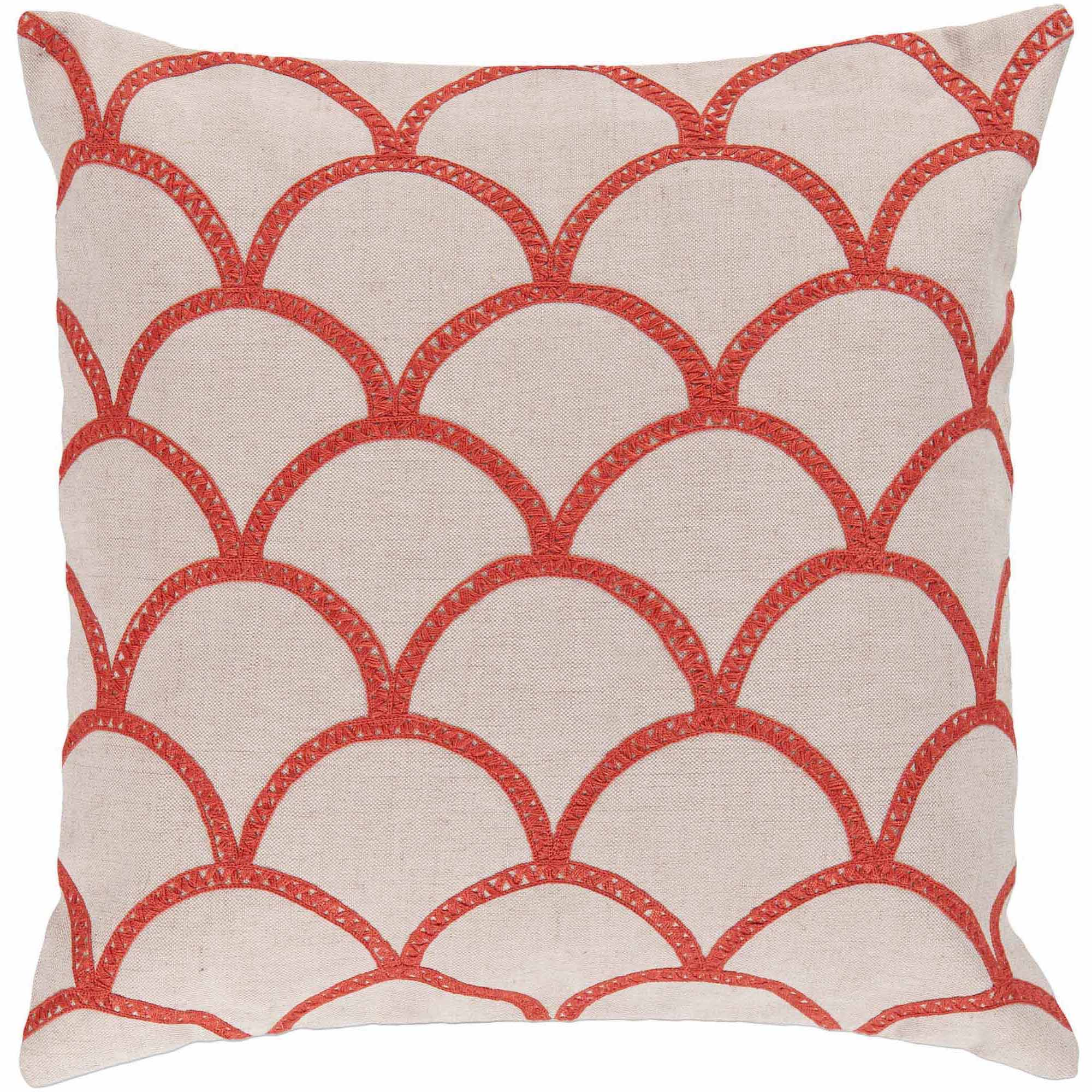 Art of Knot Syldan Hand Crafted Scalloped Cotton Decorative Pillow with Poly Filler, Poppy
