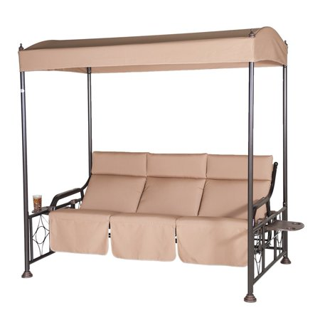 Abba Patio Patio Gazebo Swing Steel Frame Teapoy Tan
