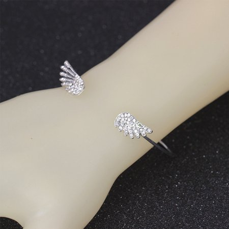 Women Rhinestone Double Wings Open Bangle Adjustable Cubic Zirconia Bracelet - image 4 of 5